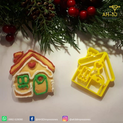 Casita de jengibre 1.png Download STL file Gingerbread House Cookie Cutter • Object to 3D print, andih256