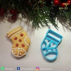 Media.jpeg Download STL file Christmas Sock Cookie Cutter • 3D printer template, andih256