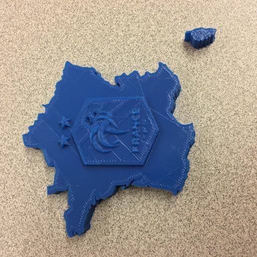 Télécharger fichier imprimante 3D gratuit Logo FFF sur la carte de France, makerwiz