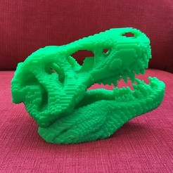 61071CFB-DDCF-49E1-9A33-C0B5B2E83174.jpeg Download free STL file Voxelized T-Rex Skull • 3D printable template, makerwiz