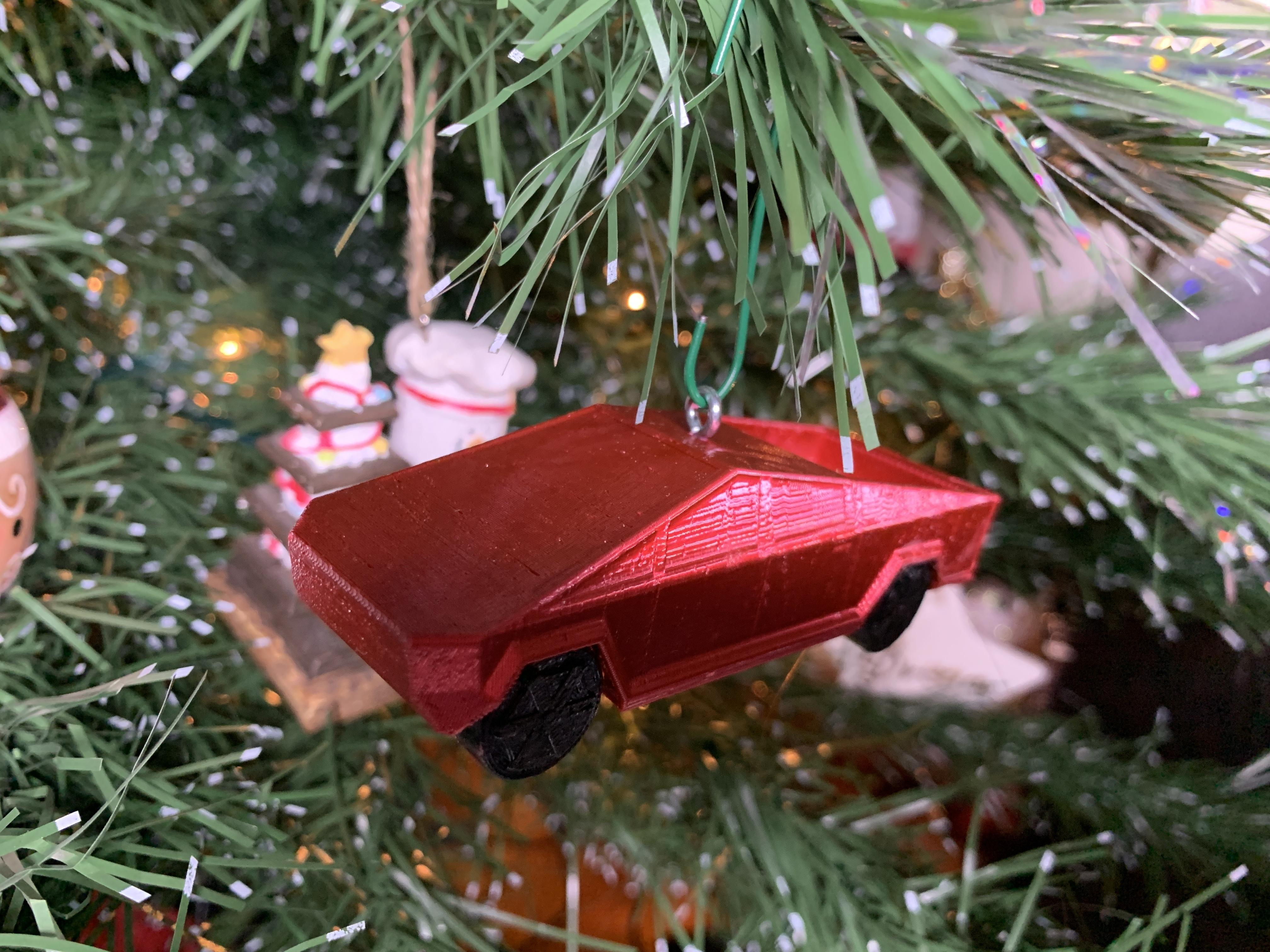 IMG_4944.JPG Download free STL file Tesla Cybertruck Christmas Ornament • 3D printable template, Desktop_Makes