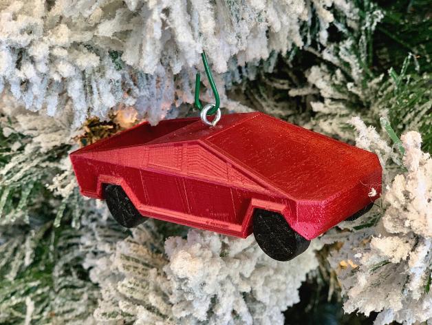Untitled_design_5.png Download free STL file Tesla Cybertruck Christmas Ornament • 3D printable template, Desktop_Makes