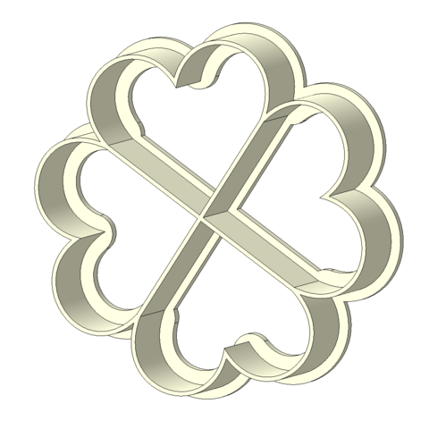 Download STL file  Four hearts - cookie-cutter • Template to 3D print, slylis