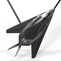 plan 3d Pendentif F117 acier noir mat , plasmeo3d