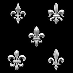 Download 3D print files Heradlry Pack Fleur-de-Lys for jewelry, plasmeo3d