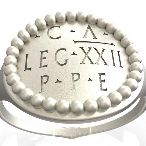 Download OBJ file Replica of an officer's signet ring of the Roman legion • 3D printable model, plasmeo3d
