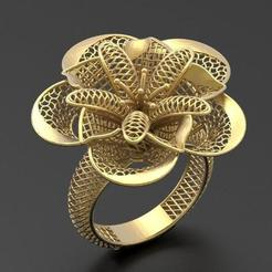 Download STL file Flower ring 2 • Design to 3D print, plasmeo3d