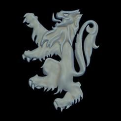 lionCG-Render1.jpg Télécharger fichier STL Lion Heraldry element • Design à imprimer en 3D, plasmeo3d