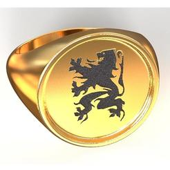 Download STL file Flanders Lion ring, plasmeo3d