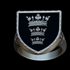 Fichier STL King's Arthur coat of arms ring, plasmeo3d