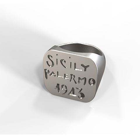 Download STL file Steel replica of a souvenir ring of the US campaign of Sicily • 3D printable object, plasmeo3d