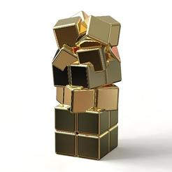"3d model GOLDEN STEEL PENDANT ""CRAZY CUBES"" MINI EDITION, plasmeo3d"