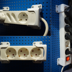 Free 3D printer designs Power Strip Mount (pegboard, desk or wall mounted), FrankLumien