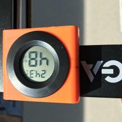 Imprimir en 3D gratis Soporte magnético para un termómetro/higrómetro LCD redondo, cmh