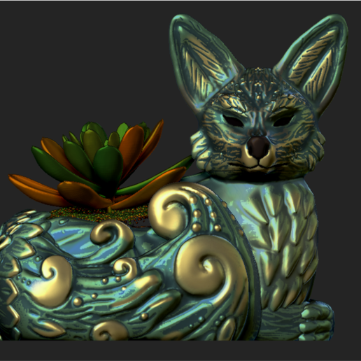 Imagen7.png Download OBJ file Night Forest Fern Fox Planter - STL for 3D Printing • 3D print model, FabioDiazCastro