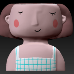 Download 3D printer files Decoration Planter Pot Cute Girl stl for 3D printing 3D model, FabioDiazCastro