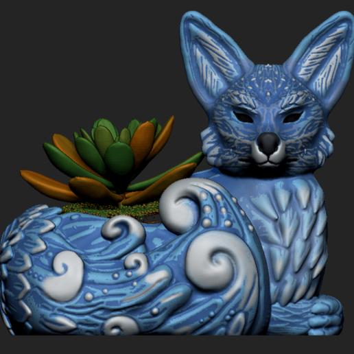 Imagen1.png Download OBJ file Night Forest Fern Fox Planter - STL for 3D Printing • 3D print model, FabioDiazCastro