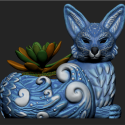 Imagen1.png Download OBJ file Night Forest Fern Fox Planter - STL for 3D Printing • 3D print model, FabioDiazCastro