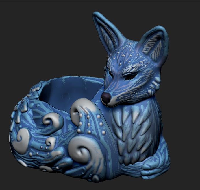 Imagen6.png Download OBJ file Night Forest Fern Fox Planter - STL for 3D Printing • 3D print model, FabioDiazCastro