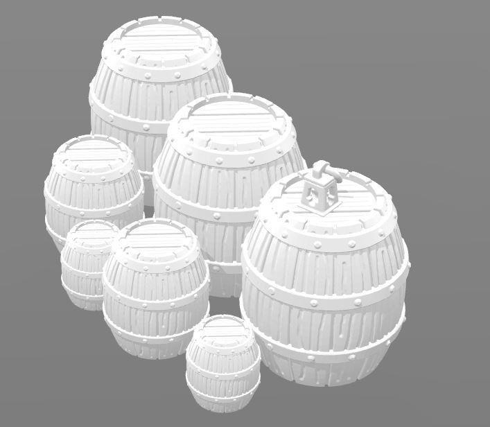 Tonneau et lanterne decor.JPG Download STL file Drums 28mm Decorative object • Model to 3D print, Zaeius