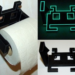 Archivos STL gratis Space Invader Papel higiénico Roll Holder, JoOngle