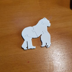 "3D print model the ""gorilla puzzle"" keychain, catf3d"
