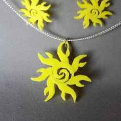 3D printing model Sun earring and pendant, catf3d