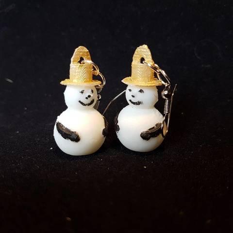 snowman earring STL file, catf3d