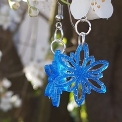 STL flower earrings, catf3d