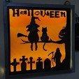 Télécharger fichier imprimante 3D gratuit cadre halloween illuminée, catf3d