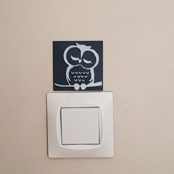 "Download STL file decoration wall socket ""owl"" decoration, catf3d"