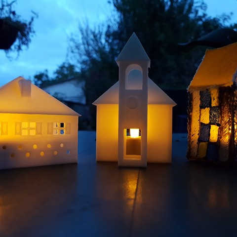 20170815_212219.jpg Download STL file SMALL ILLUMINATED HOUSE • 3D printable template, catf3d