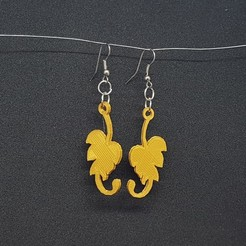 stl small leaf earring, catf3d