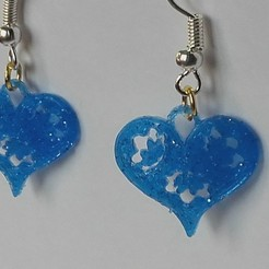 Free 3d printer designs Earrings heart, catf3d