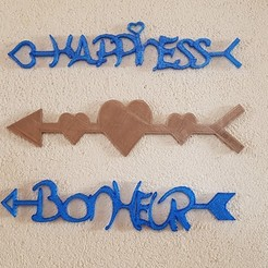 """arrows """"happiness"""", """"hearts"""" and """"happiness"""" 3D model, catf3d"""