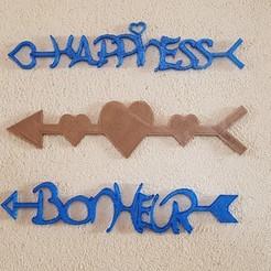 """Fichier STL flèches """"bonheur"""" , """"cœurs"""" et """"happiness"""", catf3d"""