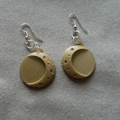 3D print files 2 moon earrings, catf3d
