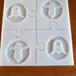 Download 3D printer designs Halloween coasters puzzle, catf3d