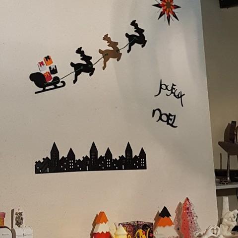 Descargar archivo 3D gratis trineo y renos y regalos y ciudad para Navidad, catf3d