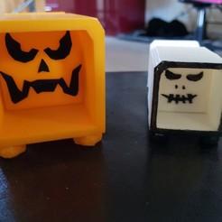 Objet 3D boite d'halloween, catf3d