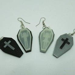 3d printer files Earrings coffin and box, catf3d