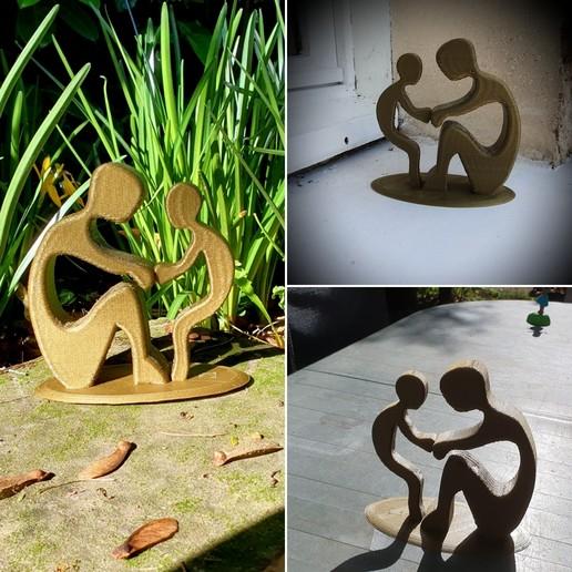 """Download STL file sculpture """"together"""", catf3d"""