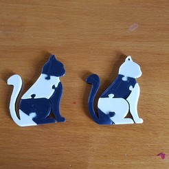 "3D printing model the ""cat puzzle"" keychain, catf3d"