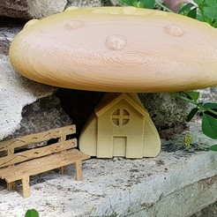 "Free 3D printer designs miniature house"" mushroom and/or ""book greenhouse"" mushroom, catf3d"