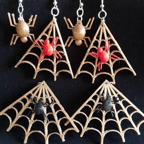 Descargar diseños 3D pendiente de tela de araña y su araña, catf3d