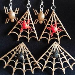 3D print model EARRINGS spiders, catf3d