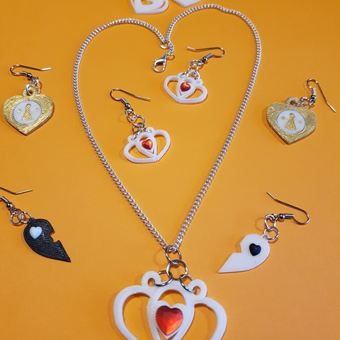 3D file 4 pairs of earrings and a pendant, catf3d