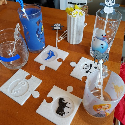 3D printer models PUZZLE BELOW ANIMAL GLASSES, catf3d