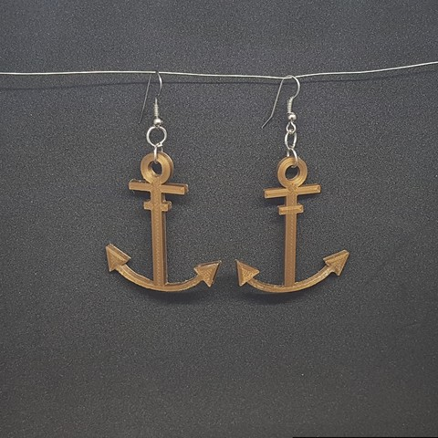 20180821_162248.jpg Download STL file earring marine anchor • Object to 3D print, catf3d