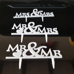 "3D printer files decoration cake ""mr & mrs"", ""mr & mr"" and ""mrs & mrs"", catf3d"